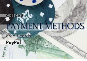 payment methods such as check, credit cards and paypal